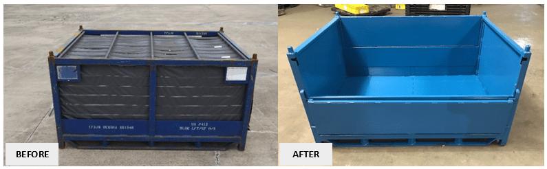 Repair Pic - Steel Rack to Drop Door Tub - Before & After