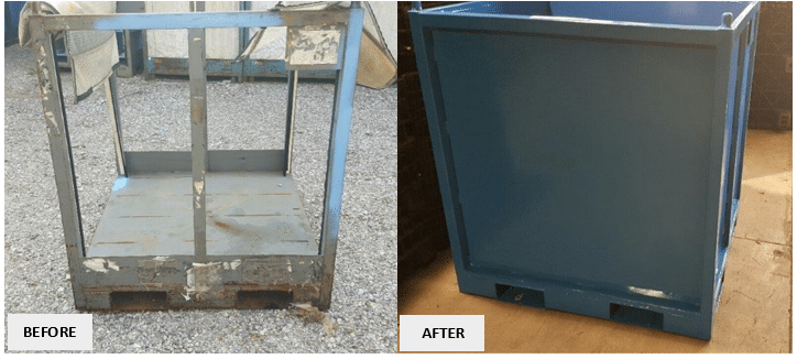 Repair Pic - Steel Rack to Solid Wall Tub - Before & After