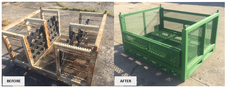 Repair Pic - Steel Rack to Wire Basket - Before & After